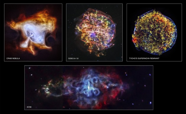 Caption: In commemoration of the 15th anniversary of NASA's Chandra X-ray Observatory, four newly processed images of supernova remnants dramatically illustrate Chandra's unique ability to explore high-energy processes in the cosmos. The images of the Tycho and G292.0+1.8 supernova remnants show how Chandra can trace the expanding debris of an exploded star and the associated shock waves that rumble through interstellar space at speeds of millions of miles per hour. The images of the Crab Nebula and 3C58 show how extremely dense, rapidly rotating neutron stars produced when a massive star explodes can create clouds of high-energy particles light years across that glow brightly in X-rays. (Image: Chandra X-ray Observatory)