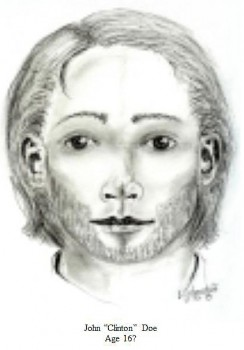 Artist's sketch issued by the Clinton Coroner's Office showing what John Clinton Doe may have looked like at age 16.