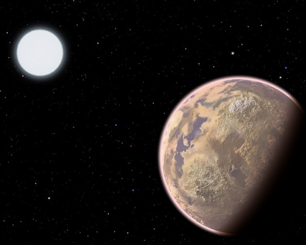 In this artist's conception, the atmosphere of an Earth-like planet displays a brownish haze - the result of widespread pollution. New research shows that the upcoming James Webb Space Telescope potentially could detect certain pollutants, specifically CFCs, in the atmospheres of Earth-sized planets orbiting white dwarf stars. (Image by Christine Pulliam, CfA)