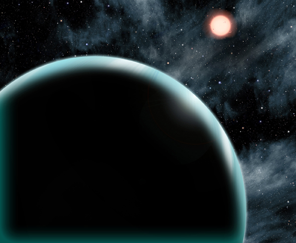 "This artist's conception shows the Uranus-sized exoplanet Kepler-421b, which orbits an orange, type K star about 1,000 light-years from Earth. Kepler-421b is the transiting exoplanet with the longest known year, circling its star once every 704 days. It is located beyond the ""snow line"" – the dividing line between rocky and gaseous planets – and might have formed in place rather than migrating from a different orbit. (David A. Aguilar, CfA)"