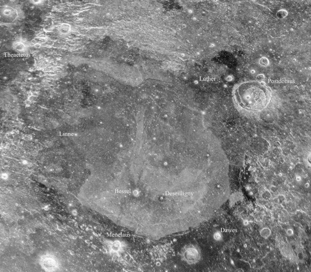 "reveals previously hidden features around an area known as Mare Serenitatis, or the Sea of Serenity, which is near the Apollo 17 landing site. The radar observations were able to ""see"" approximately 33-50 feet below the lunar surface. The light and dark features are the result of compositional changes in the lunar dust and differences in the abundance of rocks buried within the soil. (Credit: Bruce Campbell (Smithsonian Institution, National Air and Space Museum); Arecibo/NAIC; NRAO/AUI/NSF)"