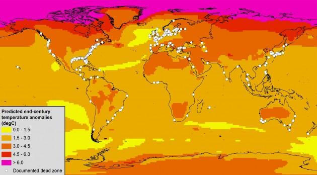 Ocean Dead Zones Map Climate change expected to expand majority of ocean dead zones