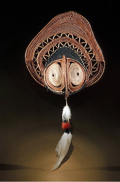 Yam mask  – woven mask used by the Abelam in the Sepik River region of PNG to decorate cultivated yams that are displayed. (Photo: Smithsonian National Museum of Natural History)
