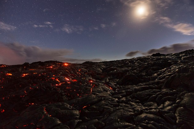 A Hawaiian lava field beneath a full moon. (Photo by Bill Shupp)