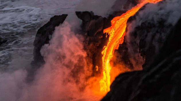 Lava entering the ocean in Hawaii. (Photo by Bill Shupp)