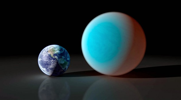 This artist's conception shows the super-Earth 55 Cancri e (right) compared to the Earth (left). Astronomers using a ground-based telescope have measure the transit of 55 Cancri e for the first time. It is the shallowest transit ever detected from the ground. (NASA/JPL image)