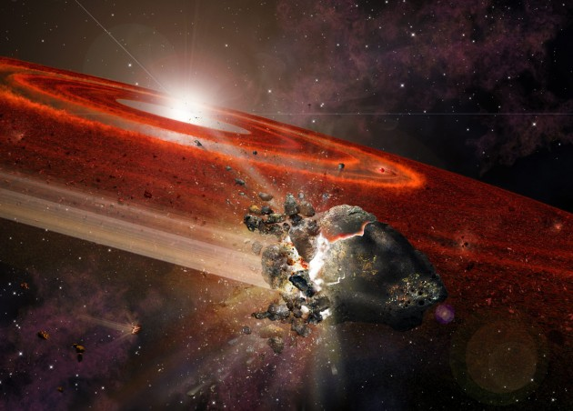 "An artist's impression of the debris disk around HD 107146. This adolescent star system shows signs that in its outer reaches, swarms of Pluto-size objects are jostling nearby smaller objects, causing them to collide and ""kick up"" considerable dust. (Graphic by A. Angelich, NRAO/AUI/NSF)"