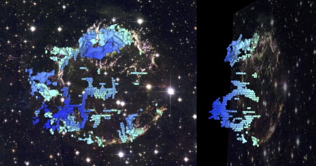 This composite image shows two perspectives of a three-dimensional reconstruction of the Cassiopeia A supernova remnant. This new 3-D map provides the first detailed look at the distribution of stellar debris following a supernova explosion. Such 3-D reconstructions encode important information for astronomers about how massive stars actually explode. The blue-to-red colors correspond to the varying speed of the emitting gas along our line of sight. The background is a Hubble Space Telescope composite image of the supernova remnant. (Image: D. Milisavljevic (CfA) & R. Fesen (Dartmouth). Background image: NASA, ESA, and the Hubble Heritage Team.)