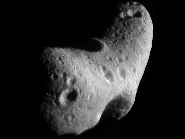 This image, taken by NASA's Near Earth Asteroid Rendezvous mission in 2000, shows a close-up view of Eros, an asteroid with an orbit that takes it somewhat close to Earth. A new paper argues that the major cause of fragmentation for small asteroids, around one hundred meters in size, is not collisions with other asteroids but rapid rotation induced by radiation. NASA/JHUAPL