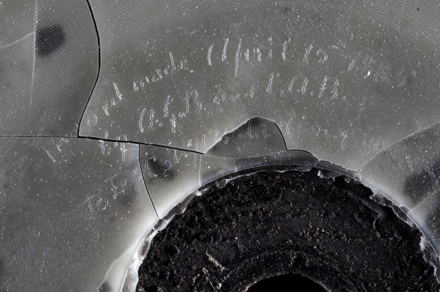 Detail, Alexander Graham Bell phonorecord, wax-on-binder-board disc recording, dated April 15, 1885 with AGB initials. (Richard Strauss photo)
