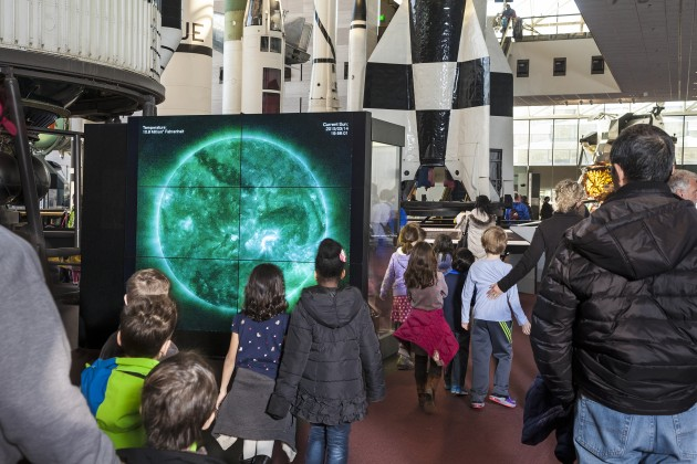 The 7-by-6-foot Dynamic Sun Video Wall shows full sun observations captured the previous day, space-weather information and scientific explanations of solar features. The high-resolution images help visitors better understand the complexities of the sun's behavior. (Image by Eric Long, Smithsonian Institution)