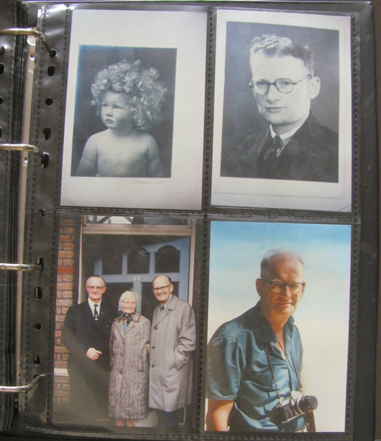 A photo album of images of Arthur C. Clarke through the years. In the lower left photo, Clarke is with his brother Fred and their mother, Nora. (National Air and Space Museum / Smithsonian Institution photo)