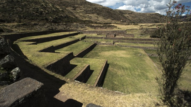 Terraces that allowed the Inka and their descendants to transform steep terrain into viable agricultural land. Pisac, Peru, 2014. (Photo by Doug McMains, National Museum of the American Indian, Smithsonian Institution)