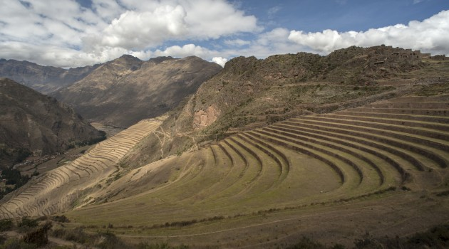 Agricultural terraces on a steep hillside. Colca Canyon, Peru, 2014. (Photo by Doug McMains, National Museum of the American Indian, Smithsonian Institution)