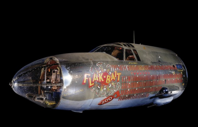 The front fuselage of Flak-Bait which served with the 449th Bombardment Squadron, 322nd Bombardment Group, Eighth and Ninth Air Forces. This famous B-26 flew from bases in England and, after D-Day (on which it flew two missions), from bases in France and Belgium. (Photo by Eric Long / Smithsonian's National Air and Space Museum)