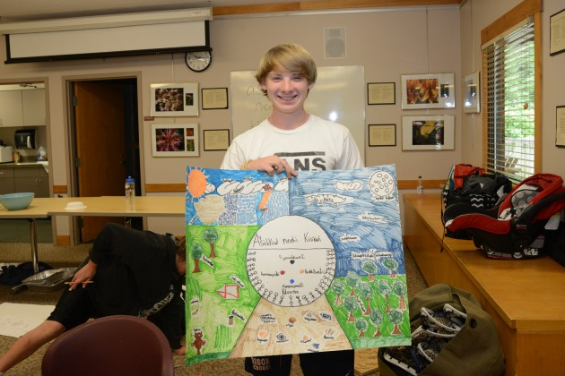 Eewansaapita participant Joshua McCoy displays a completed Myaamia language art project, which he worked on as part of a language revitalization summer camp for young members of the Myaamia Native American people.  (Photo by Andrew J. Strack, courtesy Myaamia Center Archive)