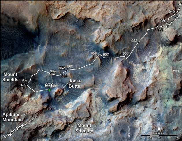 This map shows the route on lower Mount Sharp that NASA's Curiosity followed in April and early May 2015, in the context of the surrounding terrain. Numbers along the route identify the sol, or Martian day, on which it completed the drive reaching that point, as counted since its 2012 landing.