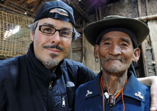 Lars Krutak with U'tan'Ke, a Macham Naga warrior and tiger hunter living in Myanmar. (Photo courtesy Lars Krutak)
