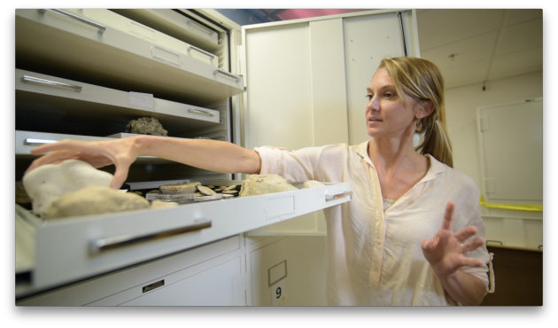 Katie Cramer with specimens of molluscs used in the study (Photo courtesy Scripps Institution of Oceanography)