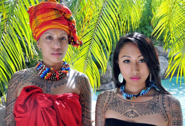 Bianca Gutierrez and Irene Mangon display traditional motifs related to the Philippine tattoo revival. Artwork by Elle and Zel Festin. (Photograph copyright © Lars Krutak)