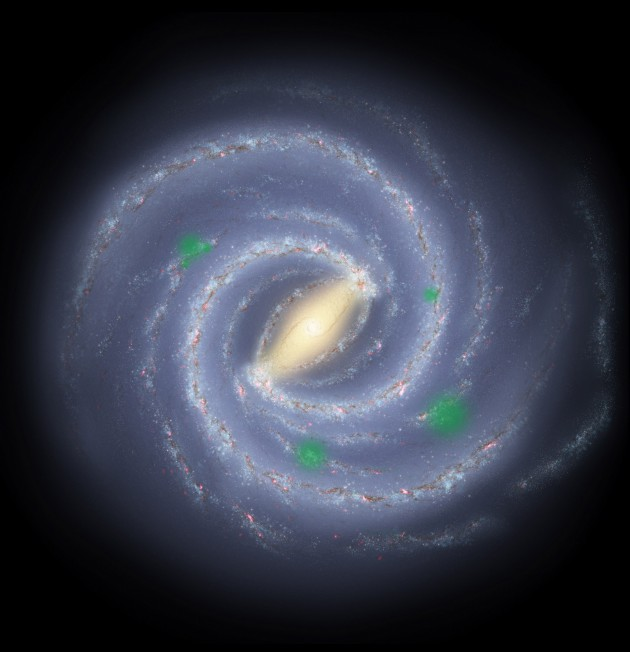 "In this theoretical artist's conception of the Milky Way galaxy, transluscent green ""bubbles"" mark areas where life has spread beyond its home system to create cosmic oases, a process called panspermia. New research suggests that we could detect the pattern of panspermia, if it occurs. (Image courtesy NASA/JPL/R. Hurt)"