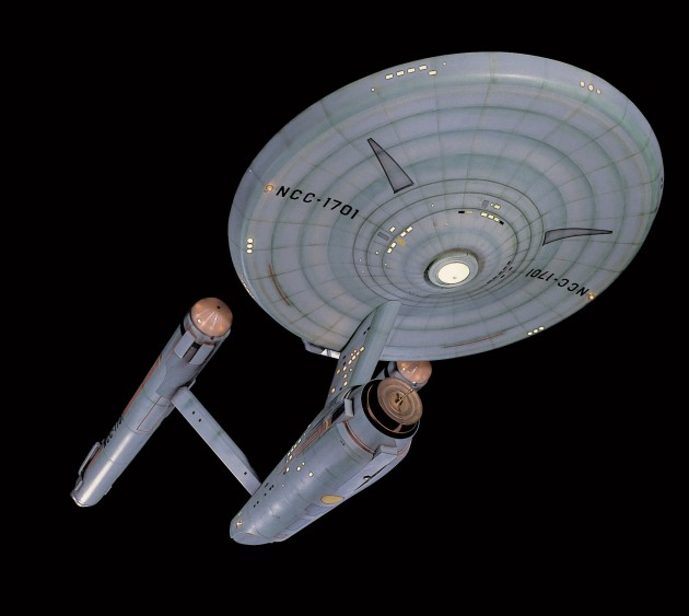 This 3.4 meter (11-foot) model of the fictional Starship Enterprise will go on display in the reimagined Boeing Milestones of Flight Hall. Star Trek pushed the boundaries of network television with its depiction of both men and women on a racially integrated, multinational crew and its attention to contemporary social and political issues. It will join other significant artifacts in this gallery to showcase the importance of popular culture's influence on society. (Photo by Mark Avino)