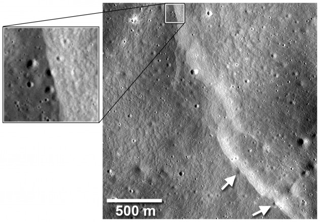 This faultline cuts across and has deformed several small impact craters, indicated by the white arrows. The fault carried surface crust materials up and over the craters, burying parts of their floors and rims. Since small craters only have a limited lifetime before they are destroyed by newer impacts, their deformation by the fault shows the fault to be relatively young. (Photo by NASA/Goddard/Arizona State University/ Smithsonian)