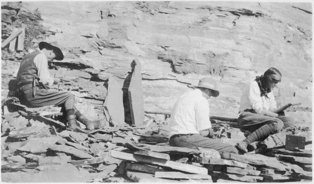 Fourth Secretary of the Smithsonian, Charles Doolittle Walcott, excavates part of the Burgess Shale in Canada with his daughter and son in 1913. (Smithsonian Institution photo)