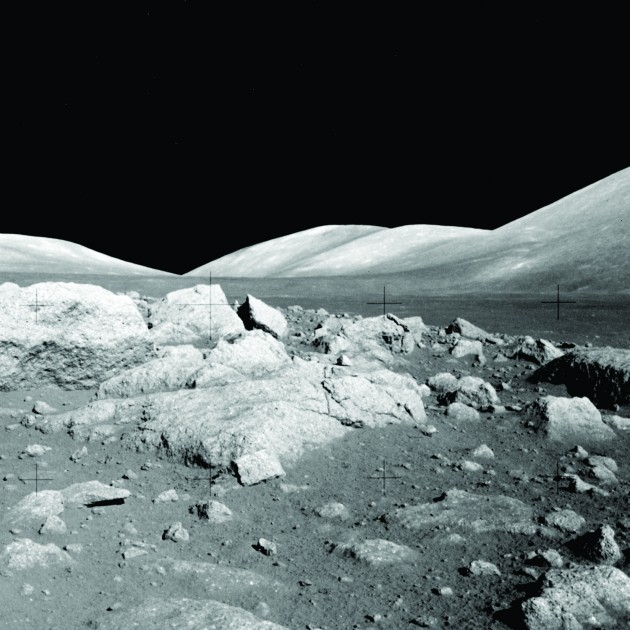 This view of the Lee-Lincoln scarp on the moon show's the Apollo 17 astronauts' view of the uplifting caused by the moon's contraction from cooling and tidal stresses. (NASA photo provided by Tom Watters)