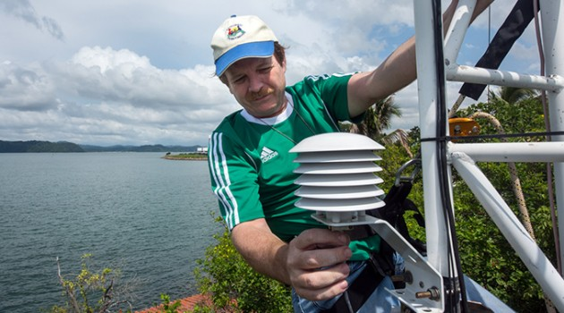 STRI's director of physical monitoring, Steve Paton, checks the metrological tower at Punta Culebra, Panama. (Photo by Sean Mattson).