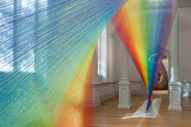 """Plexus A1"" by Gabriel Dawe, 2015. Thread, wood, hooks and steel. (Courtesy of the artist and Conduit Gallery)"