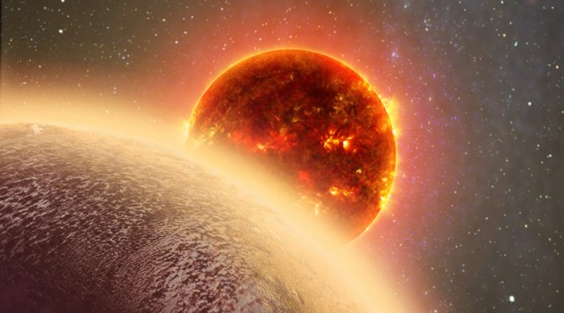 In this artist's conception GJ 1132b, a rocky exoplanet very similar to Earth in size and mass, circles a red dwarf star. GJ 1132b is relatively cool, about 450 degrees F, and could potentially host an atmosphere. At a distance of only 39 light-years, it will be a prime target for additional study with Hubble and future observatories like the Giant Magellan Telescope. (Image by Dana Berry)