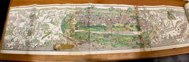 Intended as a manual for fellow pilgrims, Breydenbach's Peregrinatio in terram sanctam included phenomena travelers probably never encountered, including unicorns and bearded green men. But the guidebook did include a more useful foldout map of Jerusalem and its surroundings.