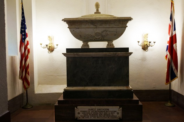 The final resting place of the Institution's benefactor, James Smithson (1765-1829), is a small chapel-like room located at the north entrance to the Smithsonian Castle on the National Mall in Washington, D.C.