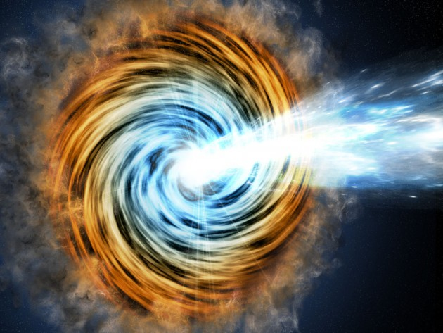This artist's conception shows a blazar – the core of an active galaxy powered by a supermassive black hole. The VERITAS array has detected gamma rays from a blazar known as PKS 1441+25. Researchers found that the source of the gamma rays was within the relativistic jet but surprisingly far from the galaxy's black hole. The emitting region is at least a tenth of a light-year away, and most likely is 5 light-years away. (Image by M. Weiss/CfA)