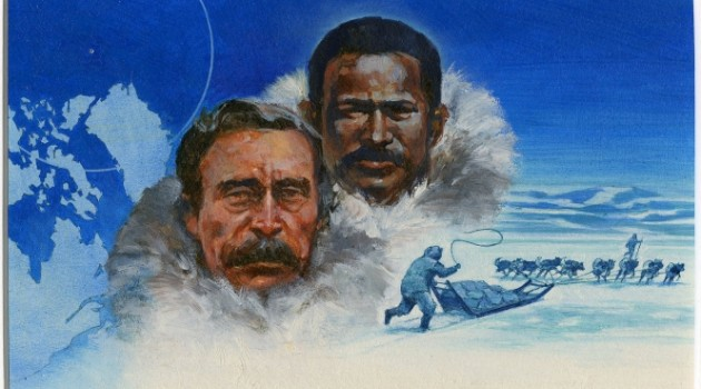 22 cent Robert E. Peary and Matthew Henson stamp art by Dennis Lyall, c. 1986 Loan from the United States Postal Service, Postmaster General's Collection