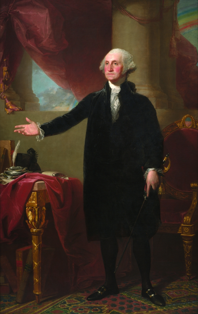 George Washington (Lansdowne Portrait), Gilbert Stuart, oil on canvas, 1796, National Portrait Gallery. Smithsonian Institution; acquired as a gift to the nation through the generosity of the Donald W. Reynolds Foundation.