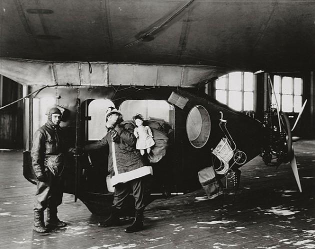 """1925 photo of Goodyear's """"Santa Claus Express"""" airship"""
