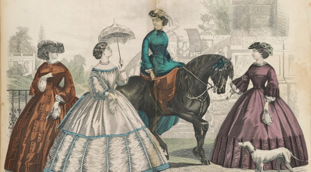 The new purple dye was quickly embraced by the fashion world, as illustrated in this 1861 edition of Godey's Lady's Book and Magazine. (Image courtesy Smithsonian Libraries)