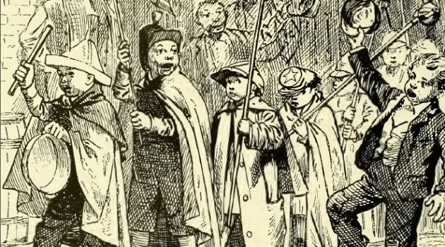 "Adults encourage some very partisan children to don uniforms, light torches, and march through their community before the big 1880 election. ""A Phase of Campaign Enthusiasm,"" Frank Leslies Illustrated Newspaper, November 12, 1880."