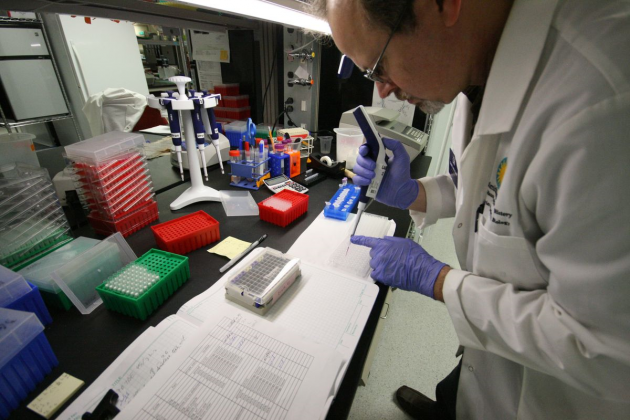 Dan Mulcahy processes genomic samples for DNA sequencing
