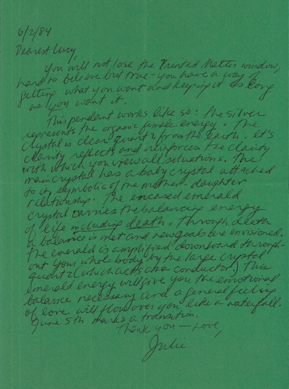 Julie Ault letter to Lucy R. Lippard
