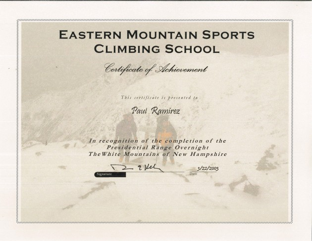 Eastern Mountain Sports Climbing School certificate