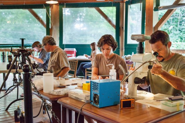 Chris Meyer and Sarah Tweedt examine samples