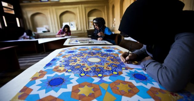 Turquoise Mountain is also committed to providing a sustainable source of income for Afghanistan's young women. Currently over half of Turquoise Mountain's calligraphy and jewelry students are women.