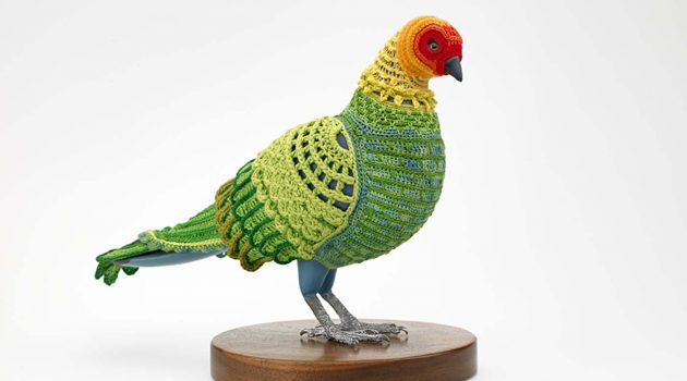 "Laurel Roth Hope, ""Biodiversity Reclamation Suit: Carolina Parakeet,"" 2009 Smithsonian American Art Museum"