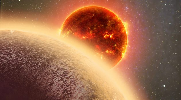 This artist's conception shows the rocky exoplanet GJ 1132b, located 39 light-years from Earth. New research shows that it might possess a thin, oxygen atmosphere - but no life due to its extreme heat. (Illustration by Dana Berry / Skyworks Digital / CfA)