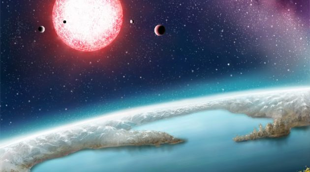 "Kepler-186f, seen here in an artist's rendering and discovered in 2014 by a team of astronomers, is one of more than 200 ""exoplanets"" that researchers say lie within the ""habitable zone"" of their stars and could potentially have life. (NASA image by Danielle Futselaar)"