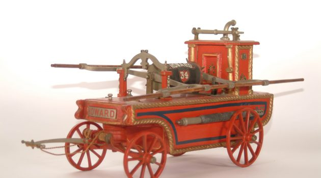 Fire Engine Model, Howard Company No. 34, 1800s. Popular with New York volunteers, this style of engine could move easily through crowded streets. Its hose was stored on the engine, allowing firefighters to more easily draw in water to discharge on flames