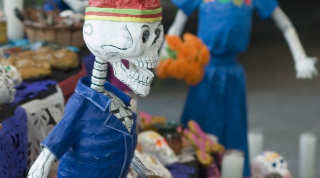 Traditional calaveras, or skulls, which are prominent on Día de los Muertos. (Courtesy of the Smithsonian Latino Center)